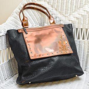 NEW Faux Black Leather Purse w/ Copper Accent Flap
